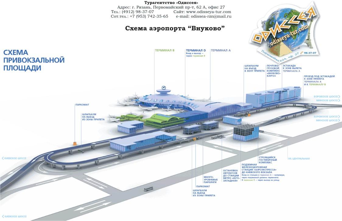 Схема всего аэропорта Внуково - подъезды, терминалы, стоянки и прочее.